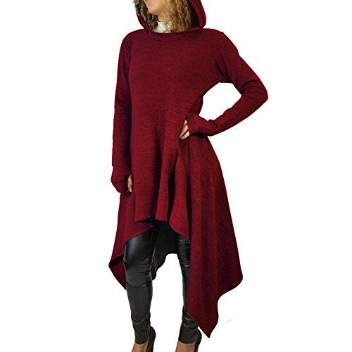 Bodycon4U Women's Asymmetrical Long Raglan Sleeve Hoodie Dress with Kangaroo Pockets