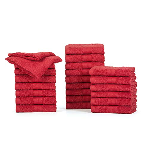 Ample Decor Cotton Pack of 24 Face Towel Set/Washcloth, 12 x 12 Inches Super Soft Quick Dry Eco Friendly Cotton Hotel spa Collection Wash Cloth – Red (24 Piece)