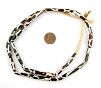 Batik Bone Beads - Full Strand of Fair Trade African Beads - The Bead Chest (Tube, Giraffe Design)