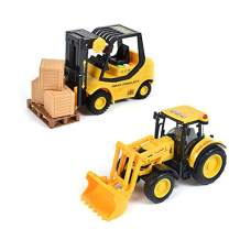 Sunny Days Entertainment Construction Vehicle – Lights and Sounds Pull Back Toy with Friction Motor | Receive Either The Fork Lift or Front End Loader | Color May Vary – Maxx Action