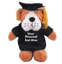 Plushland Plush Stuffed Animal Toys 12 Inches Present Gifts for Graduation Day, Personalized Text, Name or Your School Logo on Gown, Best for Any Grad School Kids (Graduation Bulldog Black Gown)