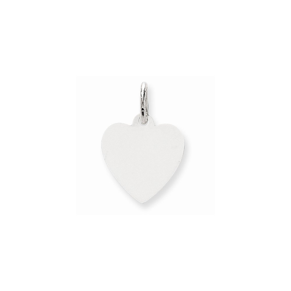 14k White Gold .009 Gauge Engravable Heart Pendant Charm Necklace Disc Simple Shaped Plain Fine Mothers Day Jewelry For Women Gifts For Her