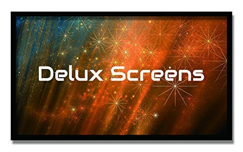 """Delux Screens 135 inch Ambient Light Rejecting 4K/8K Ultra HDR Projector Screen - Active 3D Ready - 6 Piece Fixed Frame - Home Theater Movie Projection Screen - Velvet Border (135"""", 16:9, Silver)"""