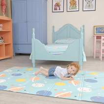 U'Artlines Play Mat, 0.4'' Thick Folding Baby Crawling Mat Foam Kids Playmat Reversible Portable Waterproof Non Toxic for Babies, Infants and Toddlers (39''x55'', Planet)