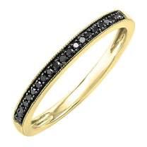Dazzlingrock Collection 0.10 Carat (ctw) 14K Gold Round Black Diamond Wedding Anniversary Milgrain Stackable Band 1/10 CT