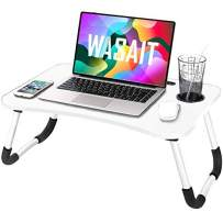 Folding Lap Desk for Laptop Bed Tray Table for Eating, Foldable Bed Table Laptop Stand for Bed, Portable Laptop Workstation Desk Bed Tray with Antislip Legs, for Kids Couch Writing Reading, White 01