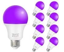 ZHMA Blacklight Bulb,UV LED Bulb,12W E26 Medium Base(110V- 240V) Glow in The Dark for Blacklights Party,Fluorescent Poster,Body Paint(8 Pack)
