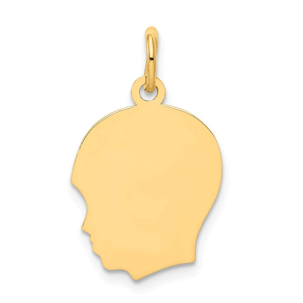 10k Yellow Gold Medium .018 Gauge Facing Left Engravable Boy Head Pendant Charm Necklace Disc Girl Fine Mothers Day Jewelry For Women Gifts For Her