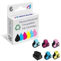 HOTCOLOR Remanufactured Ink Cartridge Replacement for HP 02 Ink for HP photosmart C5180 C6180 C6280 C7180 C7280 C7200 Printer (Black, Cyan, Magenta, Yellow, Light Cyan, Light Magenta, 6-Pack)