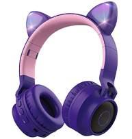 Wireless Bluetooth Kids Headphones, Aresrora Cat Ears Bluetooth Over Ear Headphones Volume Limiting,LED Lights, FM Radio, TF Card, Aux, Mic for iPhone/iPad/Kindle/Laptop/PC/TV (Purple)