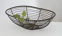 "G.E.T. Enterprises WB-702 10"" x 7"" Oval Black Wire Basket, 3"" Deep, Iron Powder Coated"