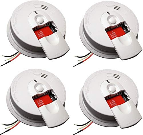 Kidde 21026063 AC Hardwired Smoke Detector Alarm with 9V Back up and Front Load Battery Door (Pack of 4)
