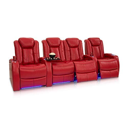 Seatcraft Delta Home Theater Seating Leather Power Recline, Powered Headrests, and Built-in SoundShaker (Red, Row of 4 with Middle Loveseat)