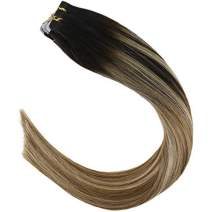 YoungSee 18inch Double Side Tape in Hair Extensions Darkest Brown to Medium Brown with Blonde Hair Extensions Glue on Hair Extensions 20pcs 50gram