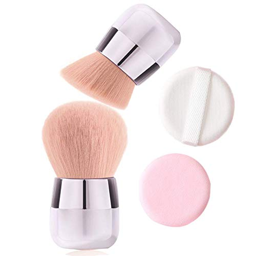 Kabuki Makeup Brush - Portable Foundation Powder Brush and Flat Top Brush for Face Blusher Liquid Powder Blend and Contour 2 Piece