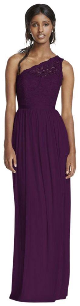 Long One Shoulder Lace Bridesmaid Dress Style F17063, Plum, 30