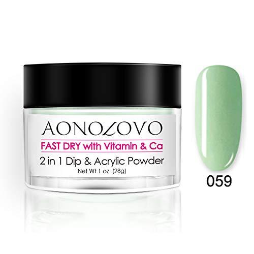 AONOLOVO Green Nail Dip Powder 2 In 1 Acrylic Dipping Powder 1 Oz, Added Vitamin & Calcium, Non Toxic & Odorless, No UV LED Nail Lamp Required (059)