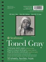 """Strathmore Gray Drawing 400 Series Toned Sketch Pad, 5.5""""x8.5"""", 50 Sheets"""