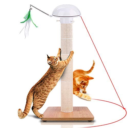 """Huicocy Cat Scratching Post,35"""" Tall Cat Tree Detachable Cat Scratcher Post Covered by Allergen-Free Durable Sisal with Interactive Auto Rotating Light Feather Cat Chaser Toy"""