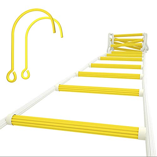 ISOP Fire Escape Ladder 25ft (8m) for Third Story Windows - Flame Resistant Safety Rope Ladder with Carabiners - Weight Capacity up to 2000 Pounds