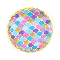 """32 Count Mermaid Party Plates for Girls Birthday Pool Party Dessert Plates- 7"""" by FLOMO"""