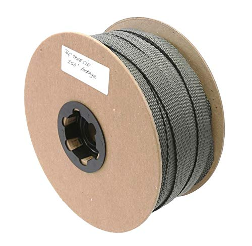 """Jiggly Greenhouse Tree Tie Webbing Strap 3/4"""" Straightener Trainer Garden Stacking and Guying Material Plant Support (250-ft Roll) 1,000 lbs Strength, Anti-Fraying Design, Made in The USA"""