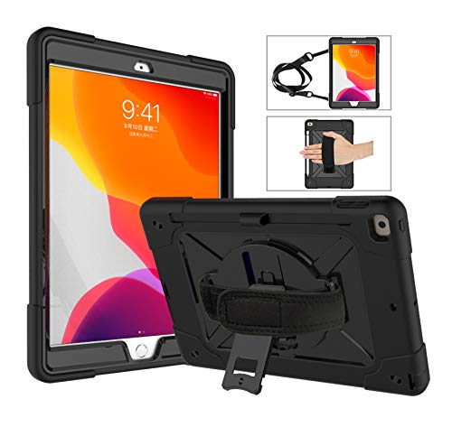 FANSONG iPad 10.2 2019 Case, iPad Cases 7th 3 Layer Heavy Duty Shockproof Rugged Protective Cover with 360 Stand Hand Shoulder Strap for Apple iPad 7th Generation 10.2-Inch 2019
