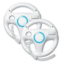 Beastron Mario Kart Racing Wheel Compatible with Nintendo Wii, 2 Sets White Color Bundle