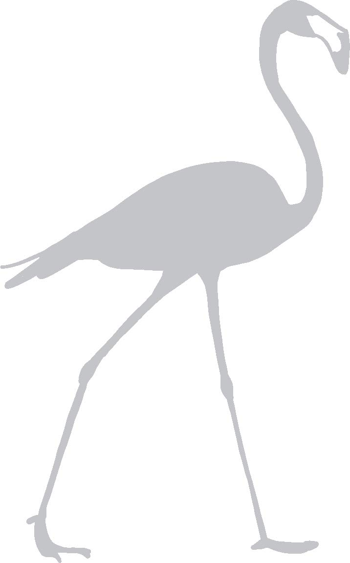 hBARSCI Flamingo Vinyl Decal - 5 Inches - for Cars, Trucks, Windows, Laptops, Tablets, Outdoor-Grade 2.5mil Thick Vinyl - Silver Gray