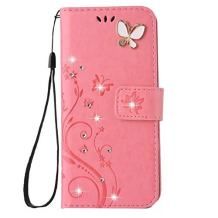 iPhone X/XS Handmade Case,Aulzaju iPhone X/XS Luxury 3D Bling Rhinestone Soft Slim Flip Stand Wallet Cover for iPhone X/XS 5.8 Inch Flower Butterfly PU Leather Diamond Case for Girls Women-Pink