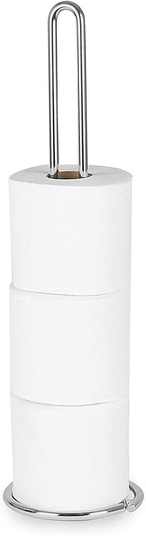 Spectrum Diversified Euro Tissue Reserve, Paper Toilet Holder, Holds Regular & Jumbo Rolls, Modern Bathroom Fixture, Chrome