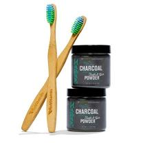 Whitening Tooth Powders with Activated Charcoal for Teeth and Gums (Refreshing Spearmint) + Eco-Friendly Biodegradable Bamboo Toothbrushes - Safe on Enamel, Detoxifying, Plant-based and Cruelty Free