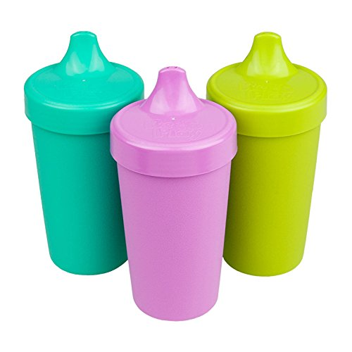 Re-Play Made in USA 3pk No Spill Cups for Baby, Toddler, and Child Feeding in Aqua, Purple and Lime Green | Made from Eco Friendly Heavyweight Recycled Milk Jugs - Virtually Indestructible (Mermaid)