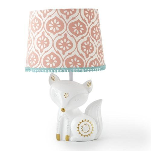 Levtex Baby - Fiona Table Lamp - Spindle Base with Pink Rosette Shade - Nursery Lamp - Base and Shade - Pink, Teal, White - Nursery Accessories - Measurements: 22 in. high and 6 in. Diameter