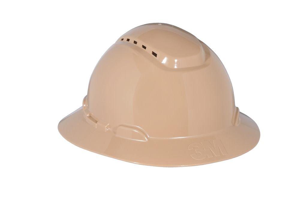 3M Full Brim Hard Hat H-811V, Tan 4-Point Ratchet Suspension, Vented