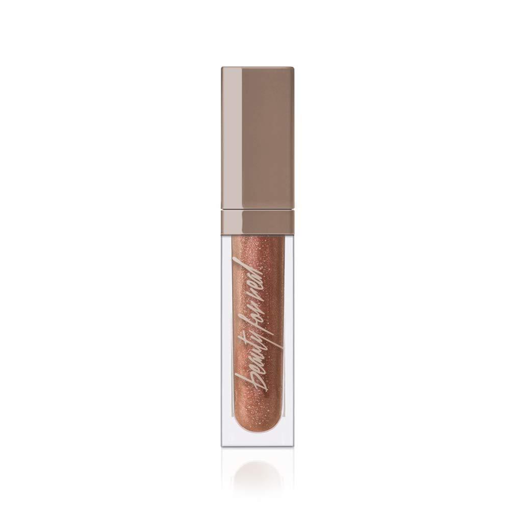 Beauty For Real Lip Gloss + Shine, Plumping High Shine Hydrating Gloss, Dream On, Sheer Metallic Nude, Light + Mirror, Cruelty Free, 0.15 fl oz