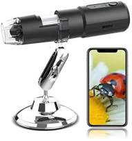 Wireless Digital Microscope for iPhone, 1080P USB Microscope Camera with 50X - 1000X Magnification, WiFi Handheld Pocket Mini Microscope with 8 LED Lights, Compatible Android Phone, Tablet, Computer