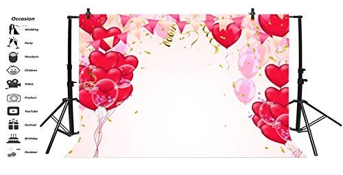 Baocicco 7x5ft Wedding Valentine's Day Banners Backdrop Couple Girlfriend Red Heart Shape Ballons Vinyl Photography Background Children Birthday Party Anniversary Girl Lovers Couples Portrait Prop