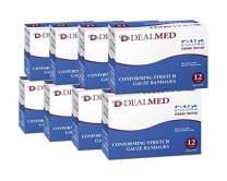 "Dealmed 2"" Conforming Stretch Gauze Bandages, 4.1 Yards Stretched, 12 Count (8 Pack)"