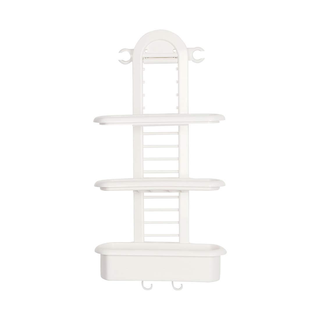 uxcell Adjustable Hanging Shower Caddies,Plastic Bathroom Storage Shelves & Tub Over The Shower Head,Basket Storage Organizer with 2 Hooks for Bathroom/Shower Stalls,White