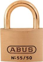 ABUS 55MB/50 Solid Brass Padlock Keyed Different - Brass Shackle