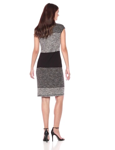 Lark & Ro Women's Cap Sleeve Blocked Stripe Sheath Dress