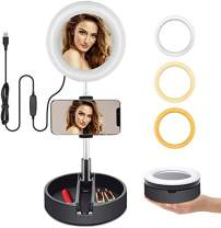 LED Ring Light, 6.3-inch Portable USB Powered, Continuous Fill Broadcast/Selfie/Livestream Light by Indigi (in-Line Brightness & Warmth Control)
