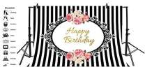 Baocicco Happy Birthday Backdrop White and Black Stripes Backdrop 7x5ft Photography Background Pink Flower Bouquet Stripes Background Children Adult Birthday Party Backdrop Photo Shooting Props Booth