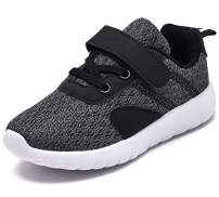 DADAWEN Baby Boys Girls Lightweight Breathable Strap Sneakers Casual Athletic Running Shoes Gray US Size 8 M Toddler