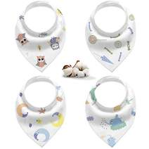 Bandana Drool Bib-Organic Cotton Baby Teething Bib for Boys&Girls, Soft and Super Absorbent, 4 Pack