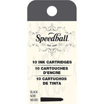 Speedball 002905 Fountain Pen Ink Cartridges Set - Cartridges for Speedball Fountain Pens -10 Black Cartridges