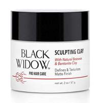 Hair Styling Clay Made of Natural Beeswax and Bentonite Clay for Hair - Unisex Hair Clay Matte Finish for All Hair Types, Non-Sticky Clay Pomade - Sculpting Clay by Black Widow, 2 oz