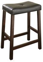 Crosley Furniture Upholstered Saddle Seat Bar Stool (Set of 2), 24-inch, Vintage Mahogany