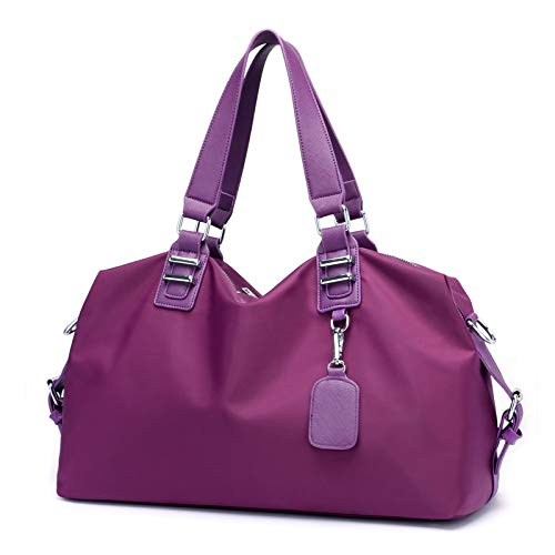 Iswee Travel Duffel Bag Weekender Bag Water Resistant Travel luggage Bag Tote Bag for Women Carry on Sports Gym Bag Large (Violet)